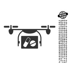 Medical quadcopter icon with professional bonus vector