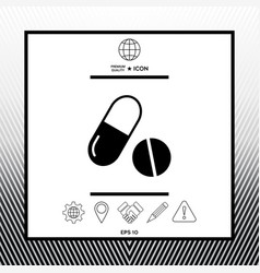 Medicines pills - capsule and pill icon vector