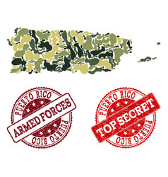Military camouflage composition of map of puerto vector
