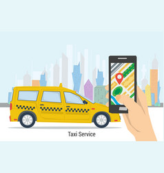 mobile taxi order - best service vector image