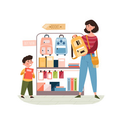 Mother and son buying school supplies vector