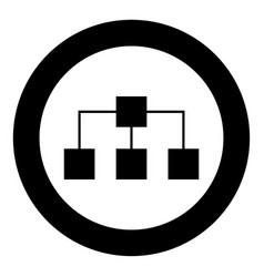 network icon black color in circle vector image