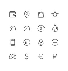 outline ecommerce icons for web and mobile thin 2 vector image