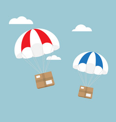 package flying with parachute e-commerce shipping vector image