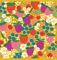 Playful bright mixed berries and flowers vector