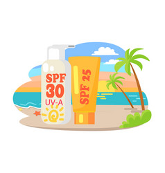 Protective suntan cream and lotion commercial vector
