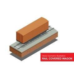 Rail covered wagon isometric vector image