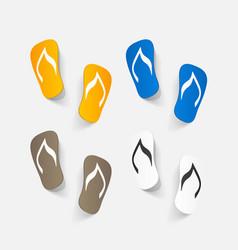 Realistic paper sticker beach flip flops vector
