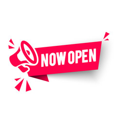 red banner now open with megaphone web element vector image