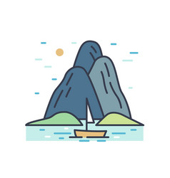 romantic colorful scenery with boat trip vector image