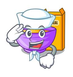 Sailor cereal box in a cartoon bowl vector