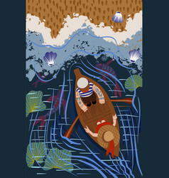 sailor is sailing in a boat on sea boat trip vector image