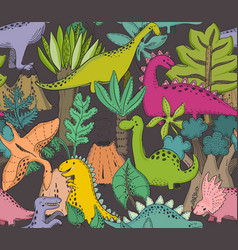 Seamless pattern with hand drawn dinosaurs vector