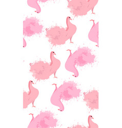 Seamless texture of pink doves with watercolor vector