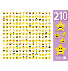 Set cute star emoji emoticons vector