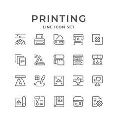 Set line icons print vector