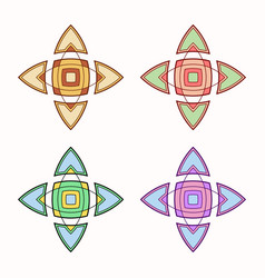 set of 4 symmetric geometric shapes vector image