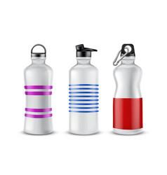 Set of plastic sport bottles for drinks vector