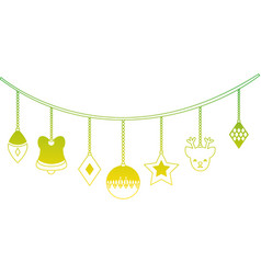 silhouette differents balls hanging to christmas vector image