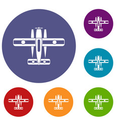 Ski equipped airplane icons set vector