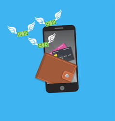 smartphone screen with wallet and credit cards vector image