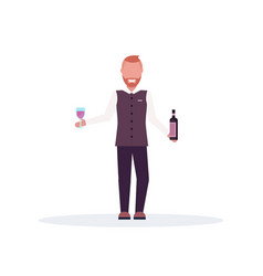 Smiling bartender holding wine bottle and glass vector
