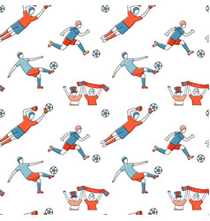 Soccer football player game match fans line icons vector