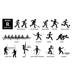 Sport games alphabet r icons pictograph roller vector