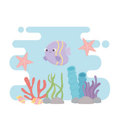 starfish fish seashells life coral reef cartoon vector image