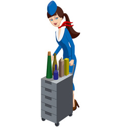 Stewardess with an aircraft meal cart vector