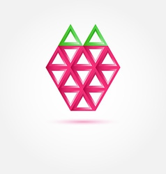 Strawberry Icon made with triangles - abstract vector image