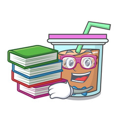 Student with book bubble tea mascot cartoon vector