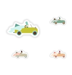 stylish concept paper sticker groom and bride car vector image