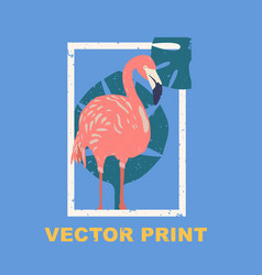 Summertime print with the flamingo vector