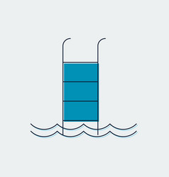 swimming pool flat line icongraphic design vector image