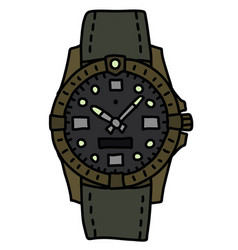 The retro outdoor wristwatch vector