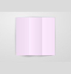 three times folded light pink paper sheet placed vector image