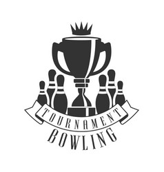 tournament bowling vintage label black and white vector image
