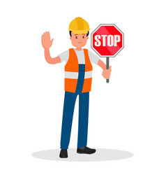 traffic controller shows road sign vector image