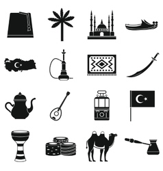 Turkey travel icons set simple style vector