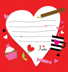 Valentine sent you with love paper heart cute cart vector