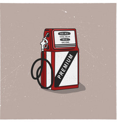 Vintage gas station pump artwork retro hand drawn vector