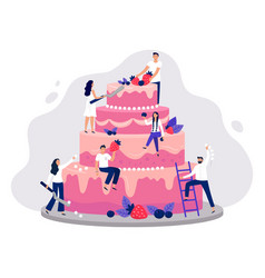 wedding cake bakers decorate pink wedding cake vector image