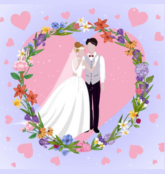 wedding couple heart card with newly married weds vector image