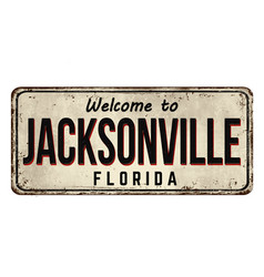 Welcome to jacksonville vintage rusty metal sign vector