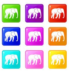 Wild elephant set 9 vector
