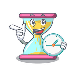 With clock cartoon hourglass in the dawn time vector