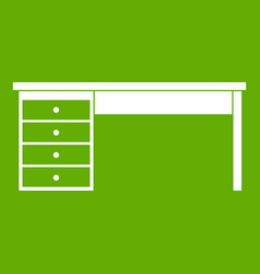 wooden office desk icon green vector image
