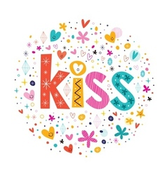 Word kiss retro typography lettering decorative vector