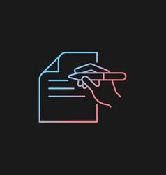 Written communication gradient icon for dark theme vector